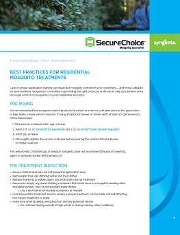 Mosquito Control Best Practices Sheet