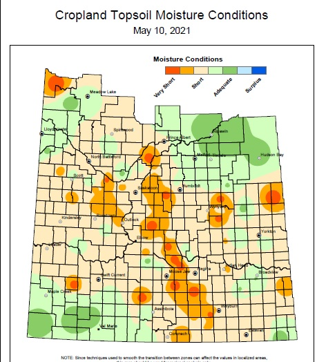 Cropland topsoil moisture