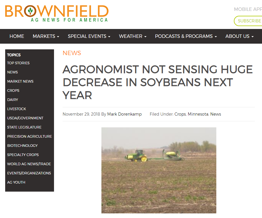 Screenshot of Brownfield Ag News for America