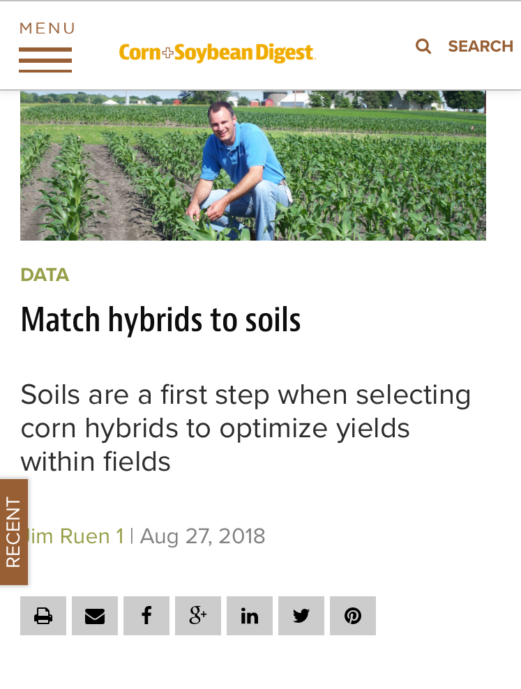 Screenshot of corn and soybean digest