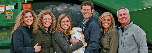 The Streitmatter family enjoys a day together on the farm; (left to right) Taylor, Tori, Kaitlyn, baby Reid, Jay, Ann, and Dave.