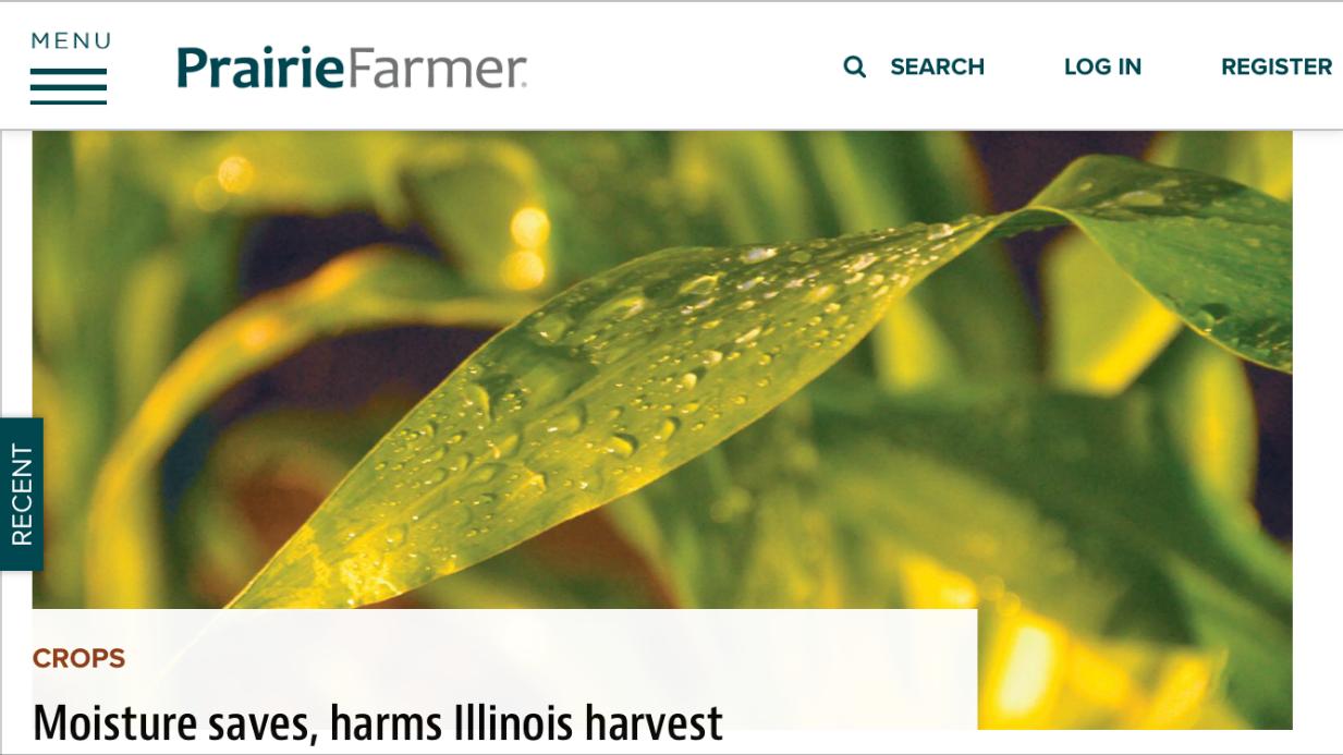 Screenshot of PrairieFarmer artile