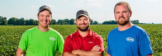 Michael Butler (left) and Jeremy Jones (right) with Helena Chemical work with Anthony Crocker (center) of Syngenta