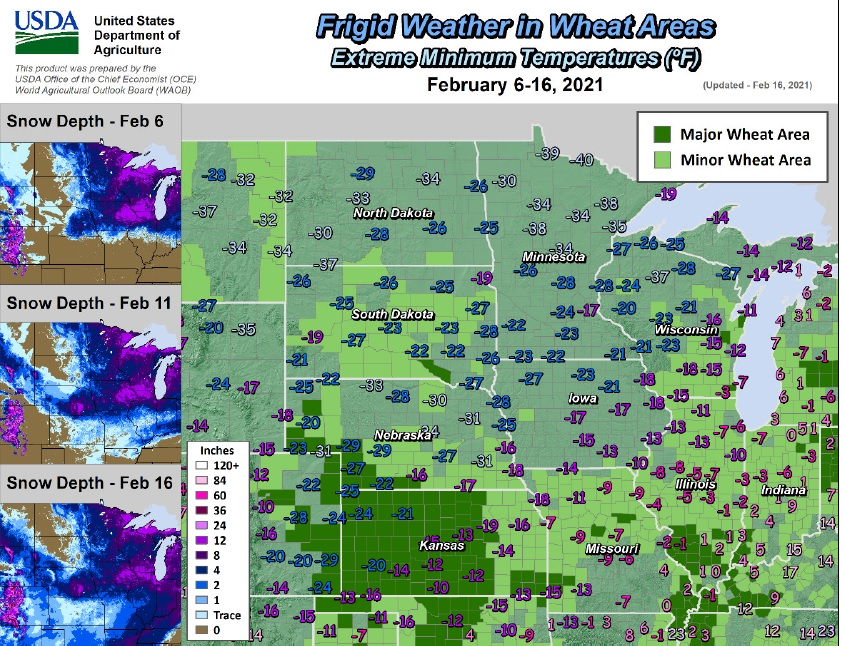 US winter wheat areas; temperatures